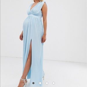 ASOS Maternity premium lace pleated maxi dress